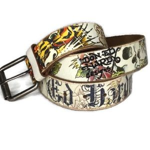 Ed Hardy Belt Tiger & Roses Leather Authentic